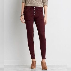 American Eagle Maroon Sateen Jegging